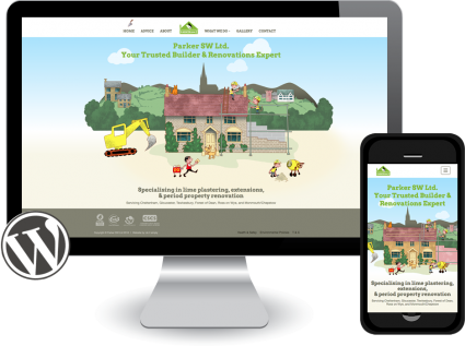 parker builders website with animation